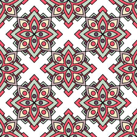African tribal flower pattern. Outline illustration of african tribal flower vector pattern for web design 向量圖像