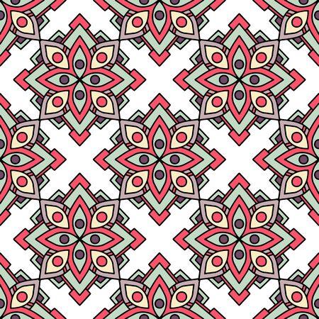 African tribal flower pattern. Outline illustration of african tribal flower vector pattern for web design Ilustração