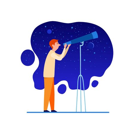 Astronomer with telescope at night sky icon. Cartoon of astronomer with telescope at night sky vector icon for web design isolated on white background Ilustração
