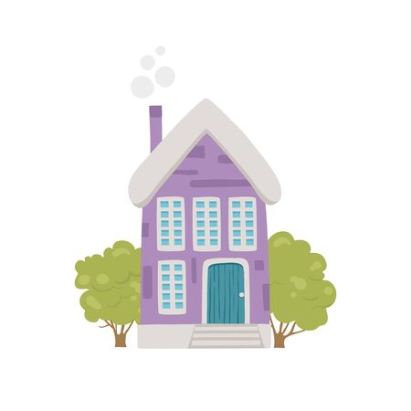 Cute village house icon. Cartoon of cute village house vector icon for web design isolated on white background 向量圖像