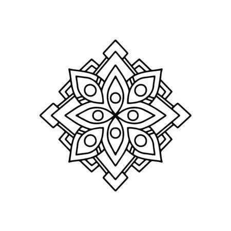 Flower mandala icon. Outline flower mandala vector icon for web design isolated on white background Vetores