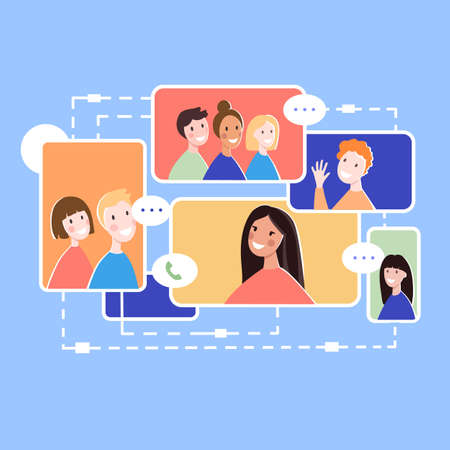 Online communication of global people concept background, flat style 向量圖像