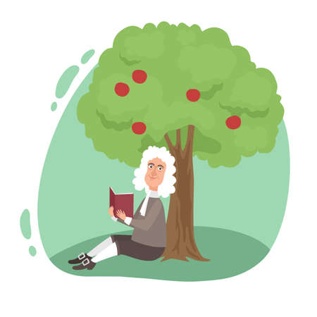 Smiling scientist Newton reading book under tree apple Ilustração