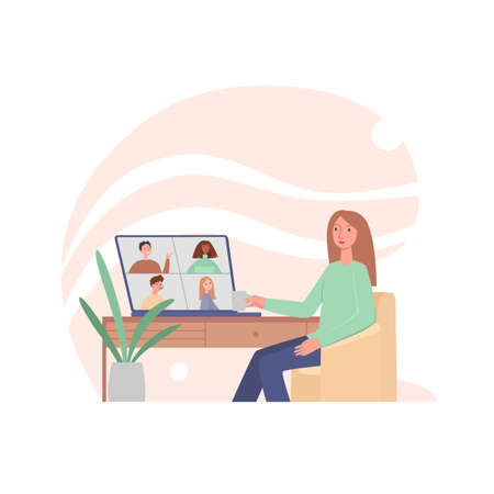 Young woman having videoconference with colleagues. Corporate video call, distant discussion. Friends talking online. Concept of teamwork during quarantine. Vector illustration in flat cartoon style