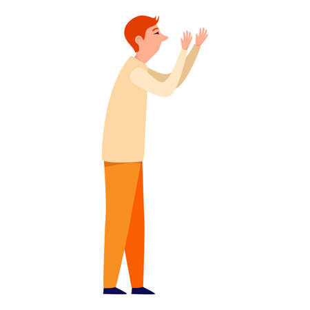 Man greeting gesture flat vector illustrations. Different nation representative waving hand. Man in casual clothes say hello.