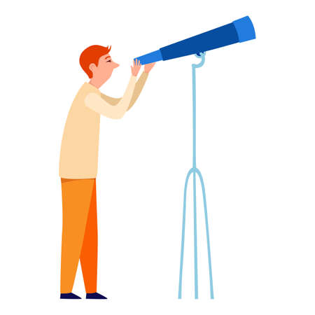 Cute little man looking into telescope vector flat illustration. Colorful man watching through spyglass isolated on white background. Boy enjoying entertainment at planetarium 向量圖像