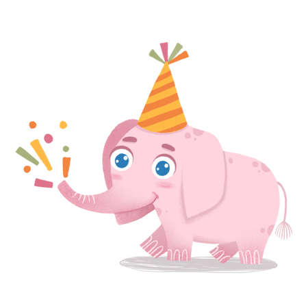 Cute baby elephant standing with trunk raised up. Funny happy animal character at birthday party. Colored flat vector illustration isolated on white background Ilustração