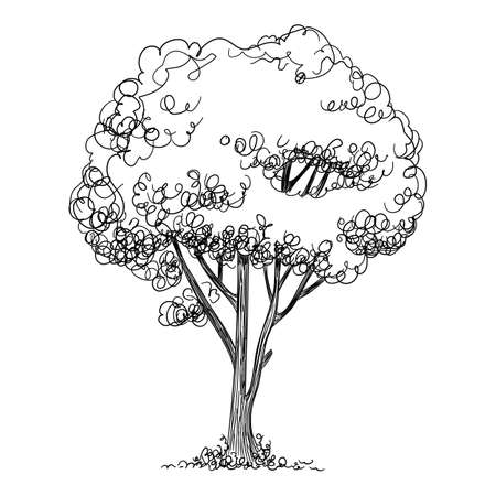 Landscape tree icon, hand drawn and outline style