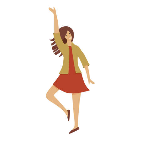 Smiling girl say hello icon, cartoon style 向量圖像