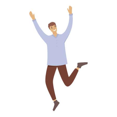 Jump happy boy icon, cartoon style