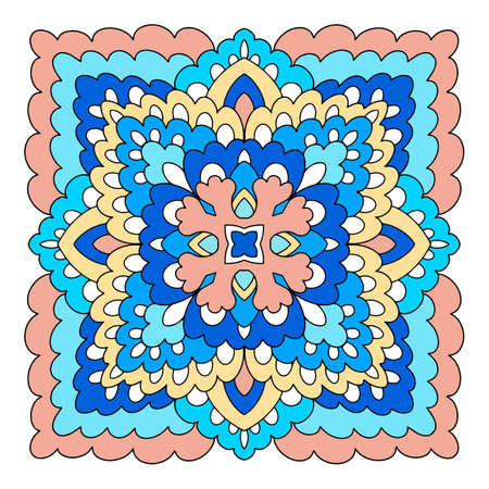 Square mandala icon, hand drawn and outline style