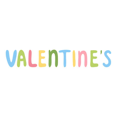 Valentines colorful lettering icon, cartoon style