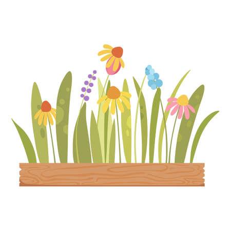 Flower on wood pot icon, cartoon style 向量圖像