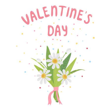 Valentines flower bouquet icon, cartoon style