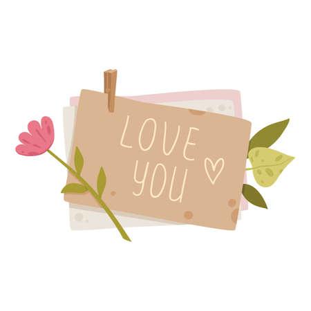 Love you card icon, cartoon style