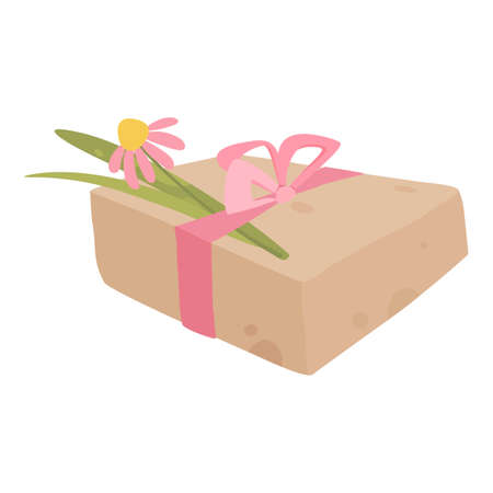 Gift box with flower icon, cartoon style
