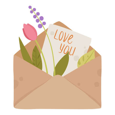Say Love U in letter icon, cartoon style 向量圖像