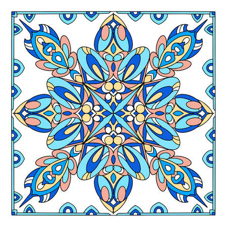 Floor muslim ornament icon, hand drawn and outline style