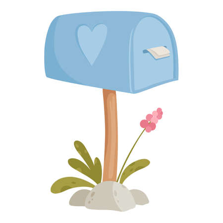 Mail box house icon, cartoon style