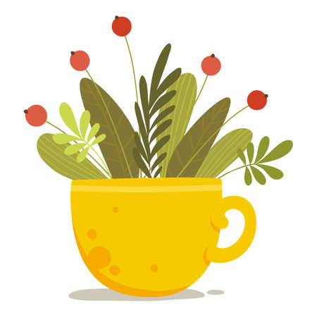 Flower berry plant in yellow cup icon, cartoon style