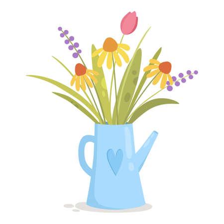 Flowers in blue tea pot icon, cartoon style