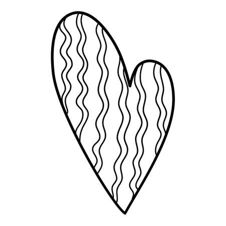 Strange heart icon, hand drawn and outline style