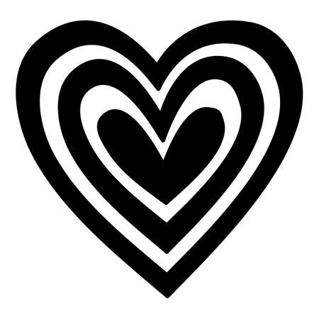 Love Psychedelic heart icon, hand drawn and outline style