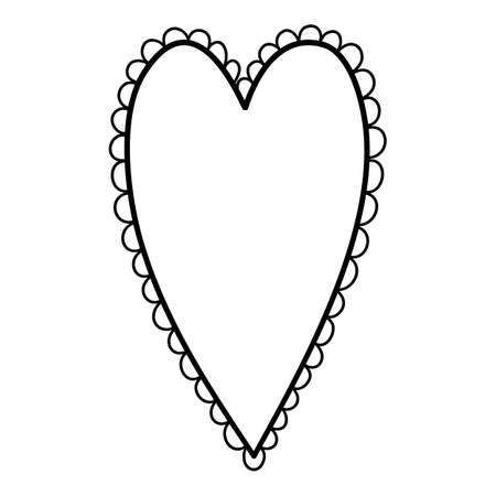 Retro heart icon, hand drawn and outline style