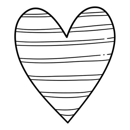 Line heart icon, hand drawn and outline style