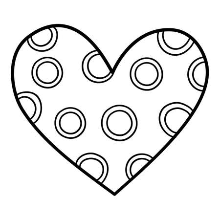 Circle heart icon, hand drawn and outline style