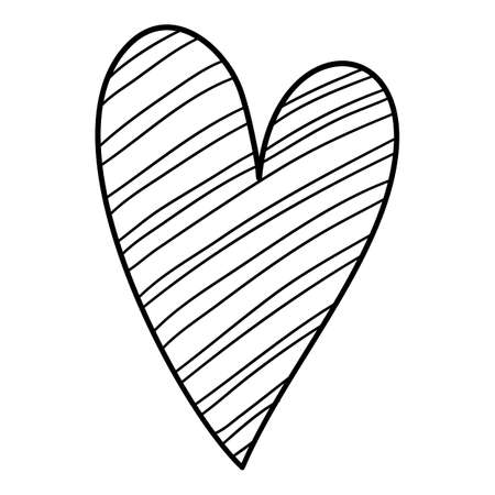 Striped funny heart icon, hand drawn and outline style