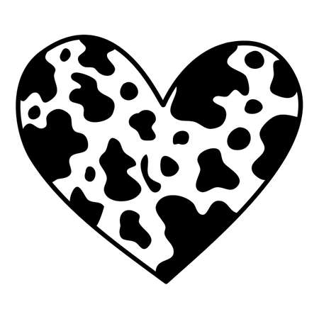 Camouflage heart icon, hand drawn and outline style