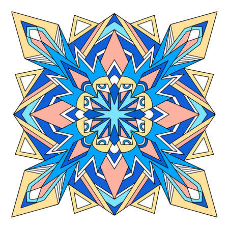 Arabic mandala icon, hand drawn and outline style