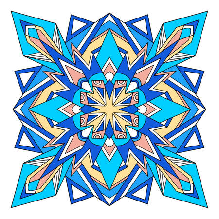 Abstract mandala icon, hand drawn and outline style 向量圖像