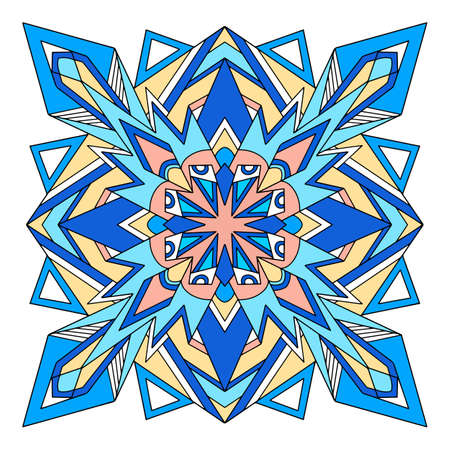 Poly mandala icon, hand drawn and outline style
