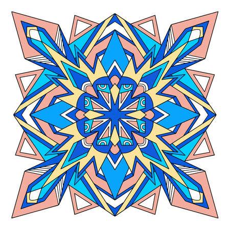 Polygonal mandala icon, hand drawn and outline style 向量圖像