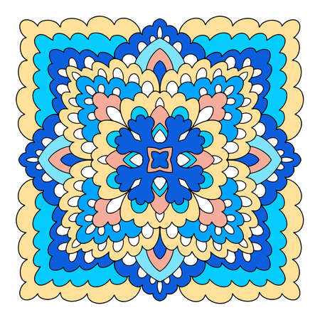 Floral mandala icon, hand drawn and outline style