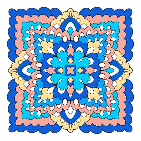 Mystic mandala icon, hand drawn and outline style
