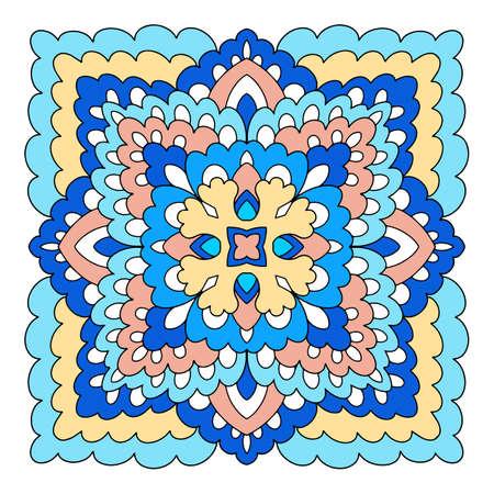 Strange mandala icon, hand drawn and outline style