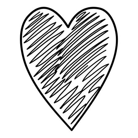 Kid draw heart icon, hand drawn and outline style