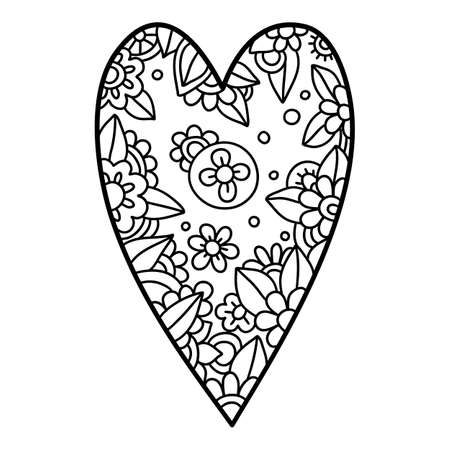 Floral beauty heart icon, hand drawn and outline style Ilustração