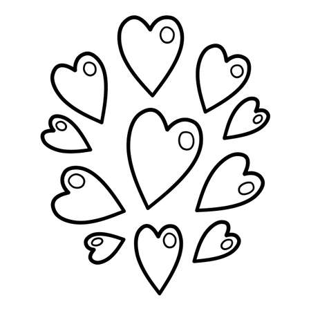 Group hearts icon, hand drawn and outline style