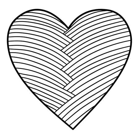 Textile heart icon, hand drawn and outline style