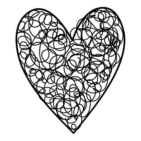 Pencil heart icon, hand drawn and outline style Ilustração