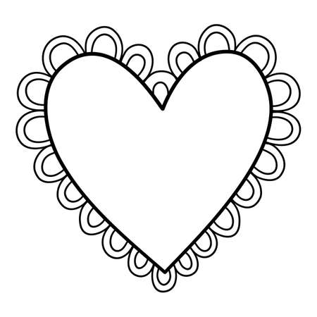 Cute flower heart icon, hand drawn and outline style