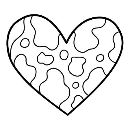 Heart of earth icon, hand drawn and outline style