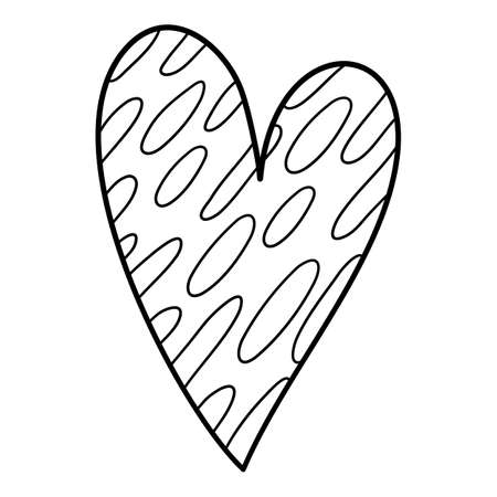 Elipse dotted heart icon, hand drawn and outline style