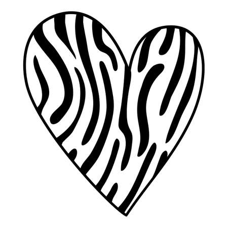 Camo jungle heart icon, hand drawn and outline style