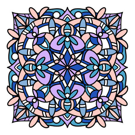Glass mandala icon, hand drawn and outline style