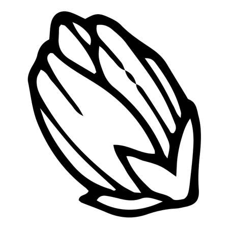 Poppy flower icon, hand drawn and outline style